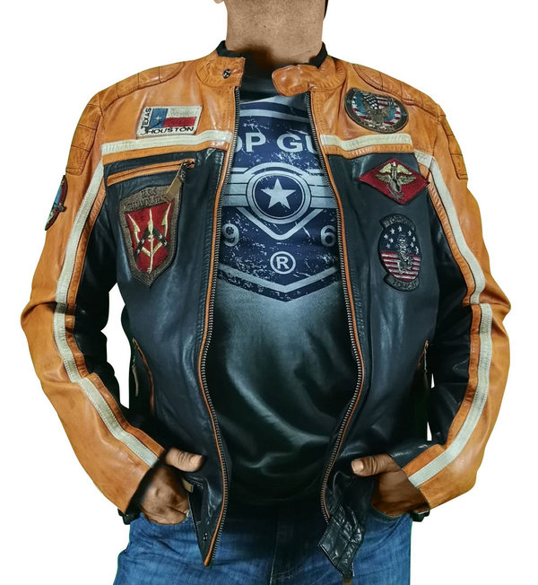 Top Gun Lederjacke TG 1005 schwarz/orange 1521